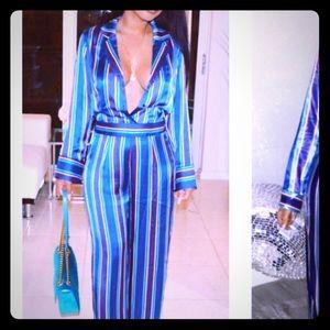 Pants - Blue Stripes pantsuit